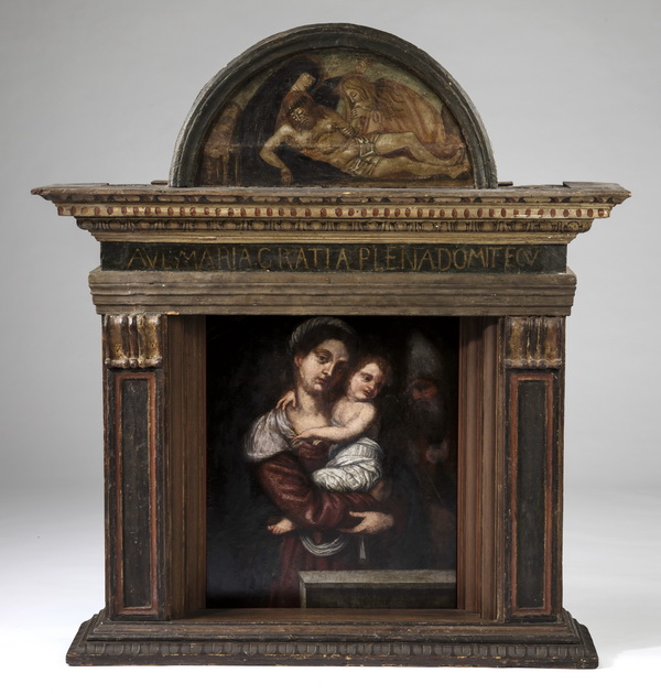 17th c. O/p Madonna and Child in period frame