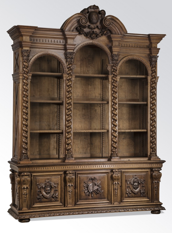 19th c. French carved walnut bookcase, 108