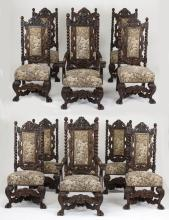 (12) Early 20th c. English carved oak dining chairs
