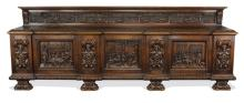 Monumental 19th c. French highly carved oak sideboard