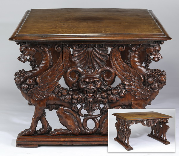 19th c. Italian highly carved figural table in walnut