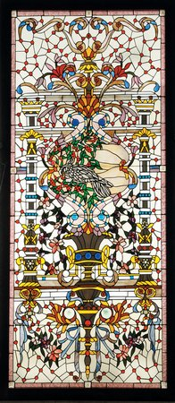 Beveled and stained glass landing window, 117