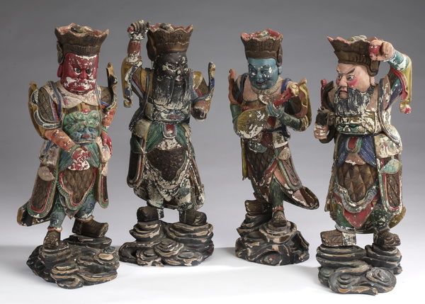 Chinese carved wood figures, Four Heavenly Kings