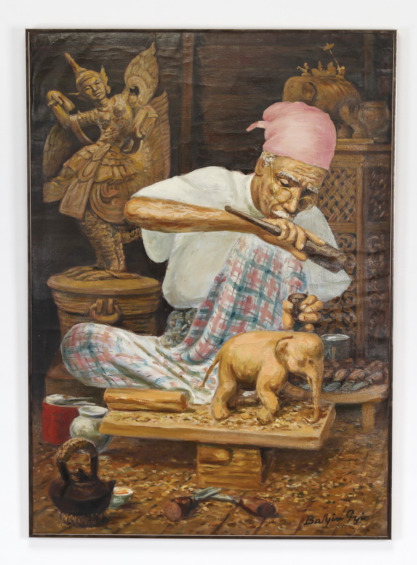 Burmese O/c, wood carver in his shop, signed, ca 1986