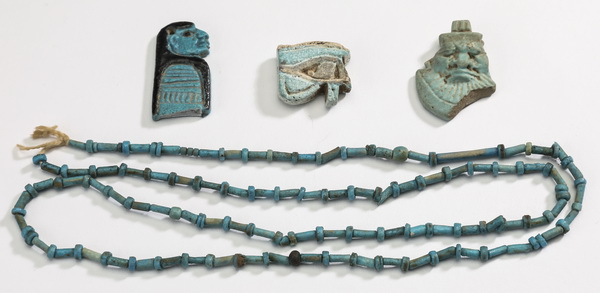 (4) Ancient Egyptian faience artifacts