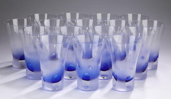 (16) Block crystal 'Rainy Day' highball glasses