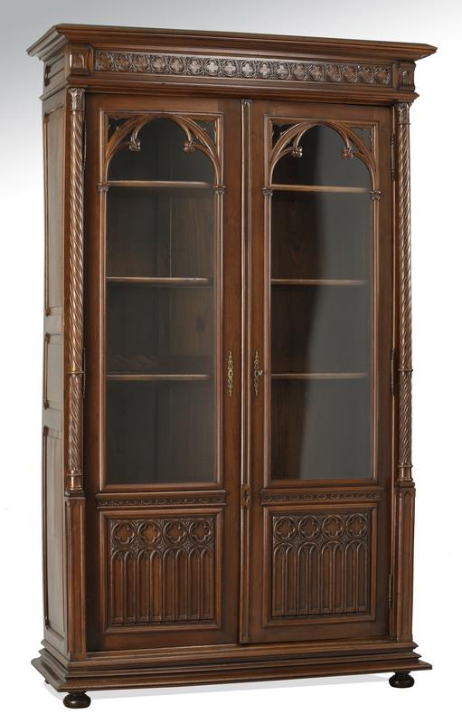 19th c. Gothic Revival walnut bookcase, 102