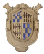 Polychrome decorated cast stone heraldic shield, 43