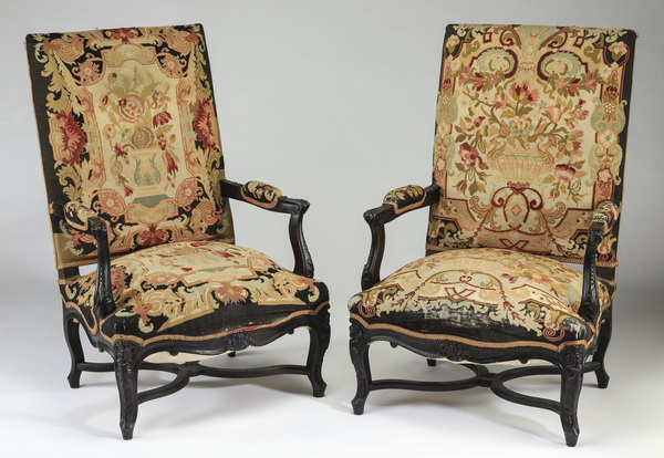 (2) 19th c. French carved armchairs in needlepoint