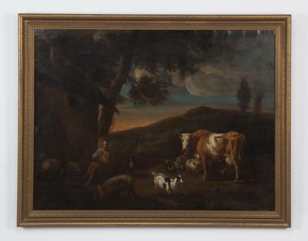 17th c.Dutch O/c, herdsman & livestock, signed, dated
