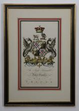 19th c. hand colored royal crest engraving
