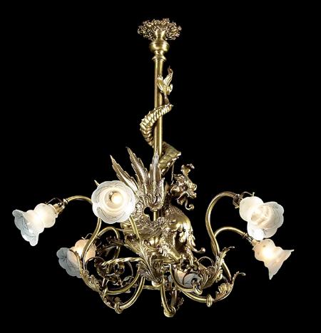19th c. Continental dragon-form bronze chandelier