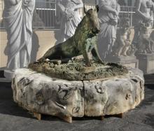 Florentine style bronze boar fountain, limestone base