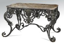 Continental style iron & marble console