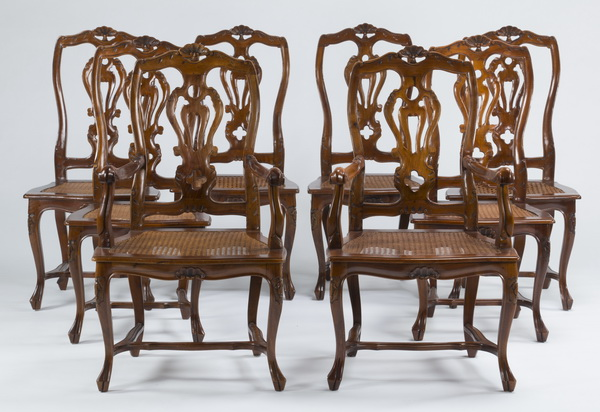 (8) French Provincial style caned chairs