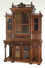 Oversized 19th c. French walnut display cabinet