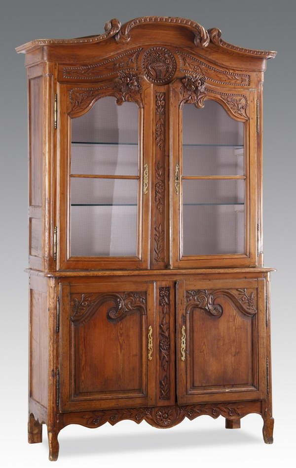 19th c. French carved chestnut cabinet