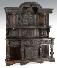19th c. English Jacobean style carved oak cabinet
