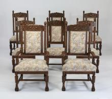 (8) 19th c. carved oak chairs