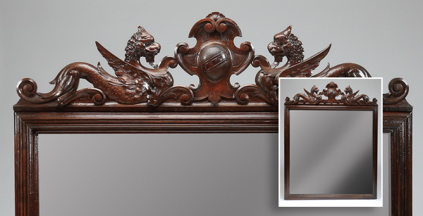 19th c. Italian oak overmantel mirror w/crest, 68