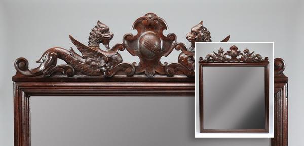 19th c. Italian oak overmantel mirror w/crest, 68