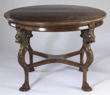 Empire style carved walnut table w/ lion masks