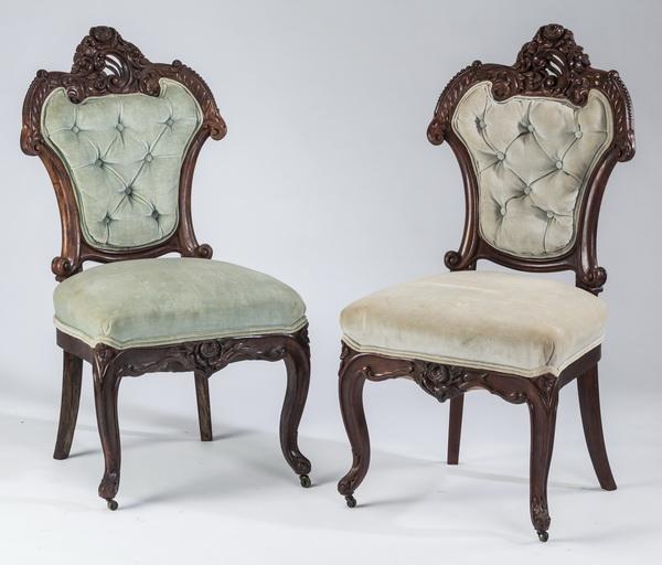 (2) Rococo Revival mahogany salon chairs, 19th c.