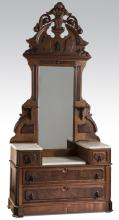 19th c. American marble top dresser w/ mirror, 94
