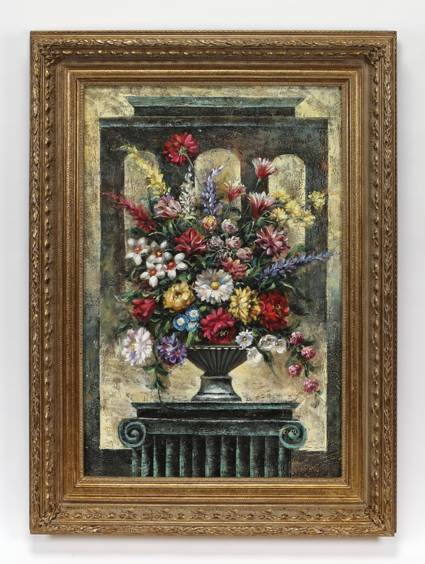 20th c. signed O/c of flowers on Neoclassical column