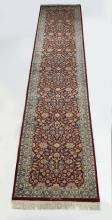 Signed hand knotted Pakistani wool runner, 16' long