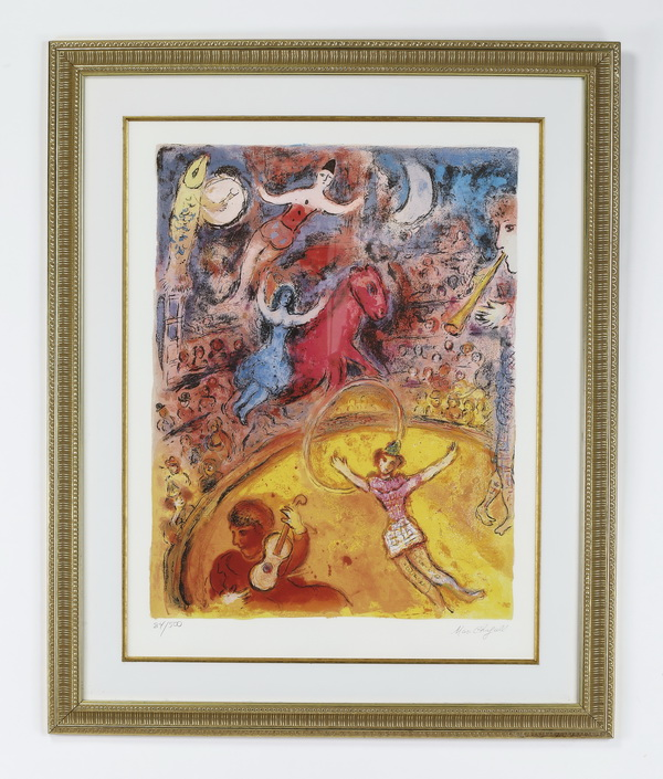 After Chagall, framed 'Le Cirque' series print