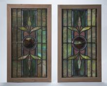(2) American stained glass windows by Rudy Bros.