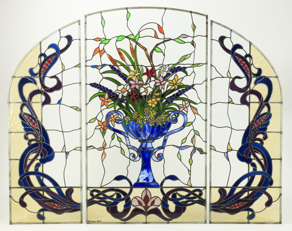 3-Panel stained and leaded glass window, signed
