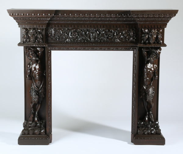 19th c. Italian figural carved mantel, after Frullini