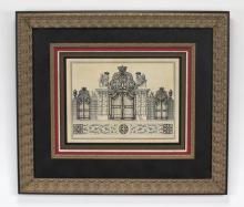 Framed print of the Schloss Belvedere gate, Vienna