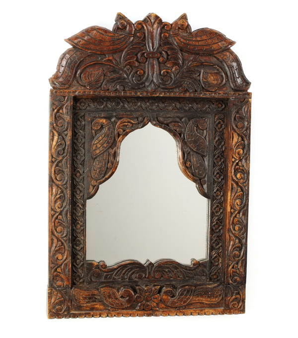 Carved Indian style hardwood mirror w/birds, 36