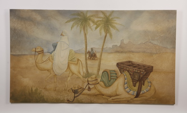 Arabian desert scene, mixed media on canvas, 78