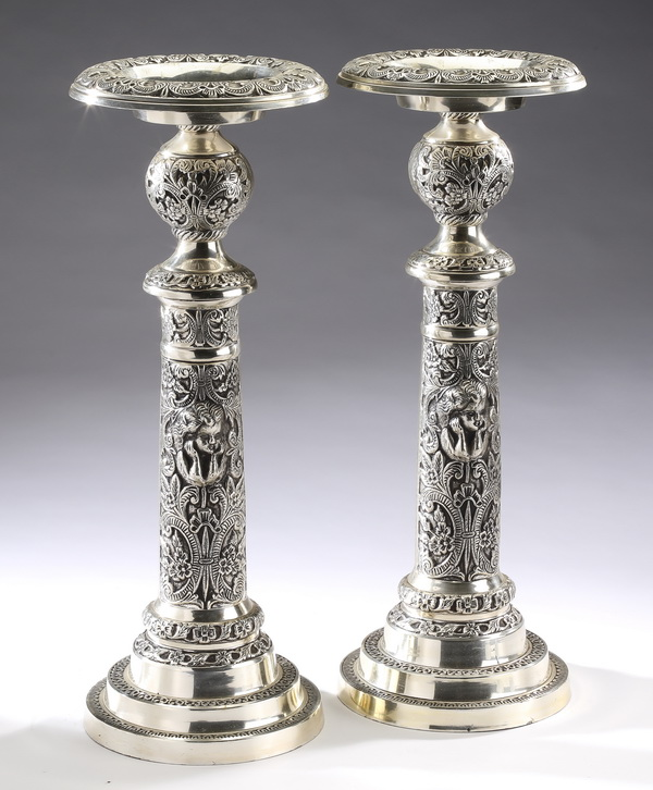 (2) Renaissance Revival style pricket sticks