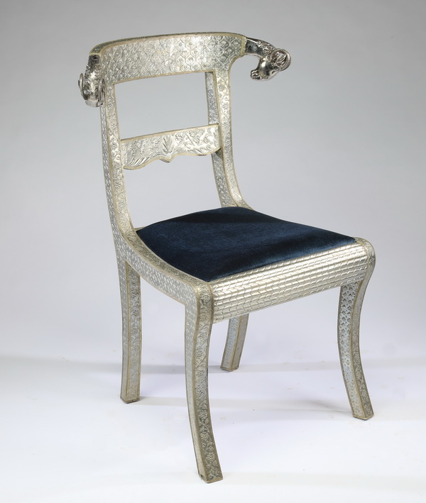 Anglo-Indian style silvered ram's head chair, 35