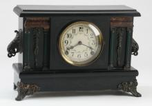 Early 20th c. American paint-decorated mantel clock