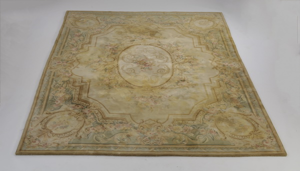Aubusson style hand knotted wool rug, 12 x 9