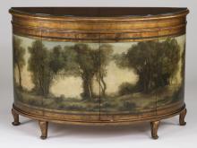 Paint decorated demilune cabinet w/ landscape motif
