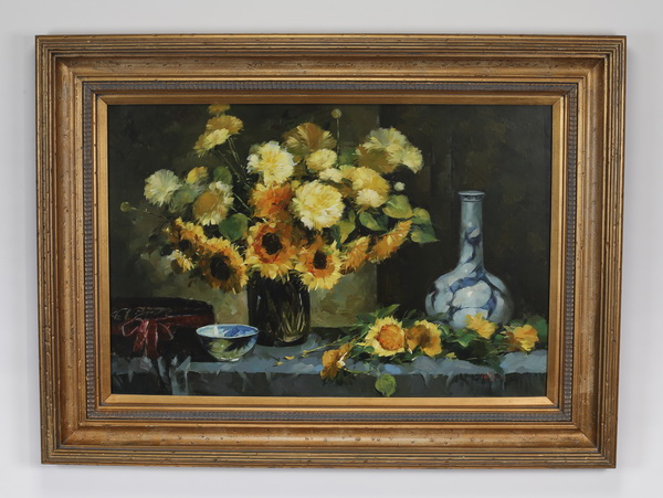 20th c. signed O/c of sunflower still life, signed