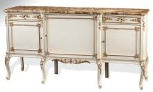 Louis XV style paint decorated marble top buffet