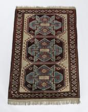 Hand knotted Caucasian style wool rug, 4 x 6