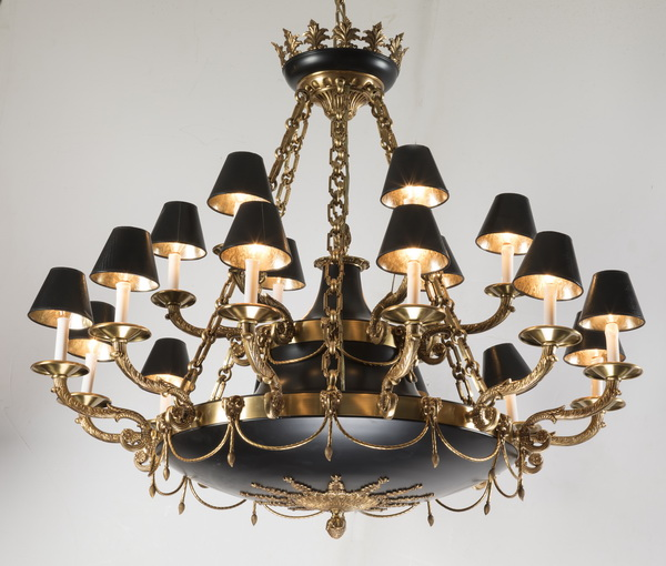 18-arm Empire style dome chandelier w brass accents