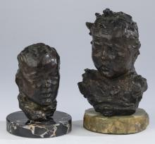 (2) Continental bronze busts of infants, 5