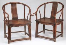 (2) Chinese carved horseshoe armchairs