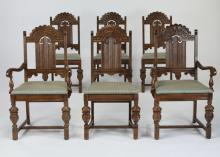 (6) Early 20th c. Jacobean Revival carved oak chairs