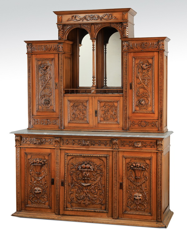 19th c. carved walnut marble top cabinet